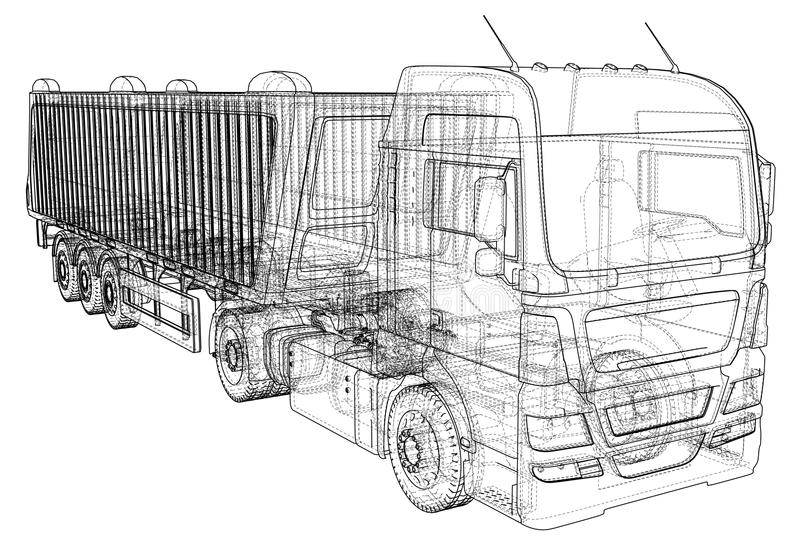 Illustration de vecteur de camion à benne basculante Camion blanc d'isolement de verseur Illustration de découverte de 3d Format  illustration stock
