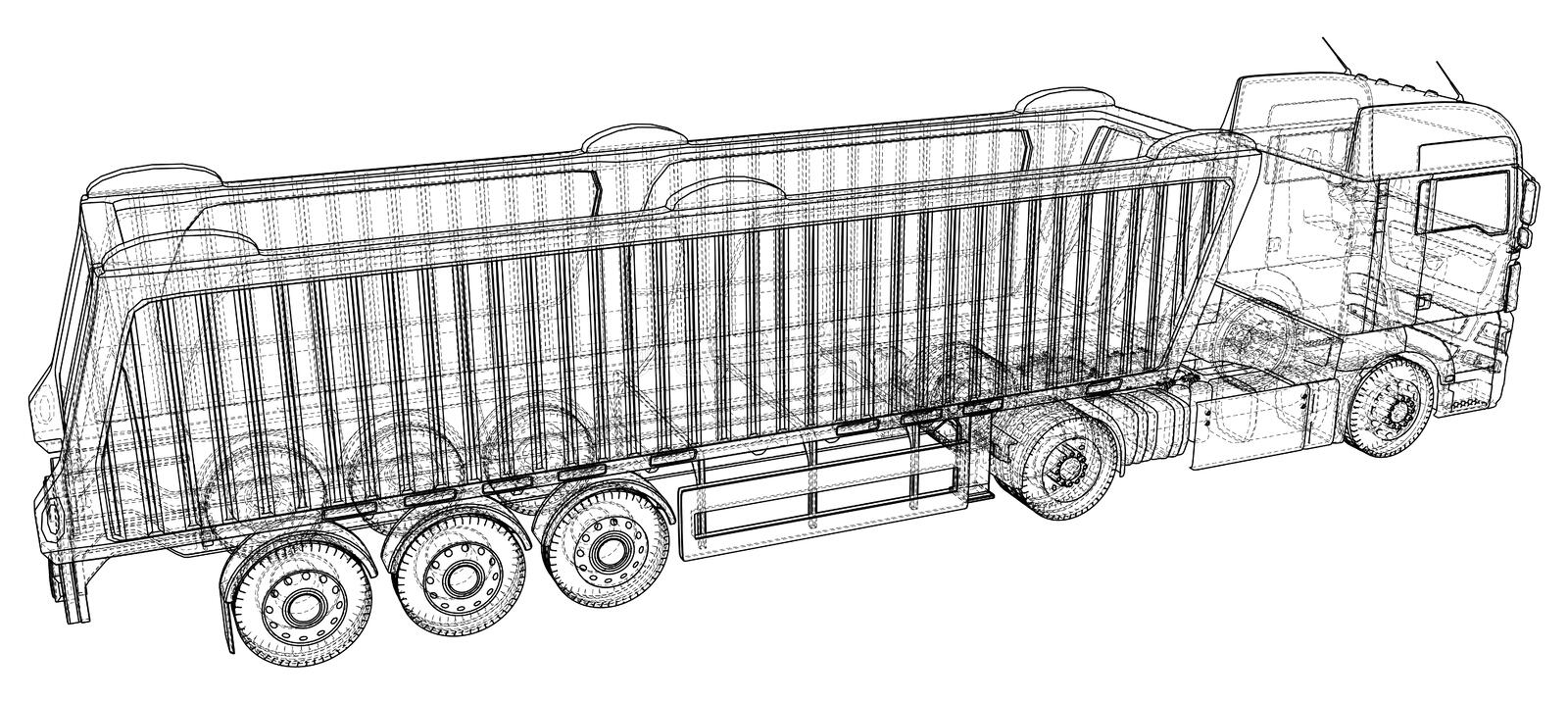 Illustration de vecteur de camion à benne basculante Camion blanc d'isolement de verseur Illustration de découverte de 3d Format  illustration libre de droits