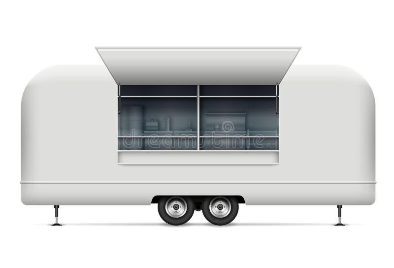 Illustration de vecteur de camion de nourriture sur le fond blanc illustration libre de droits