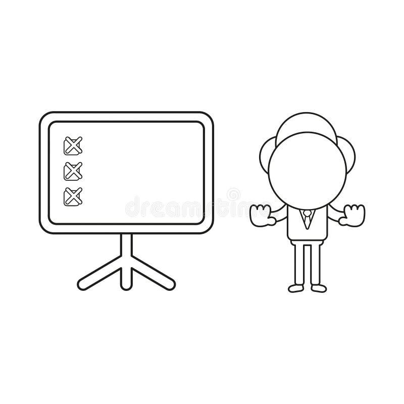 Illustration de vecteur de caractère d'homme d'affaires avec la marque de diagramme et de x de présentation et montrer le geste d illustration stock