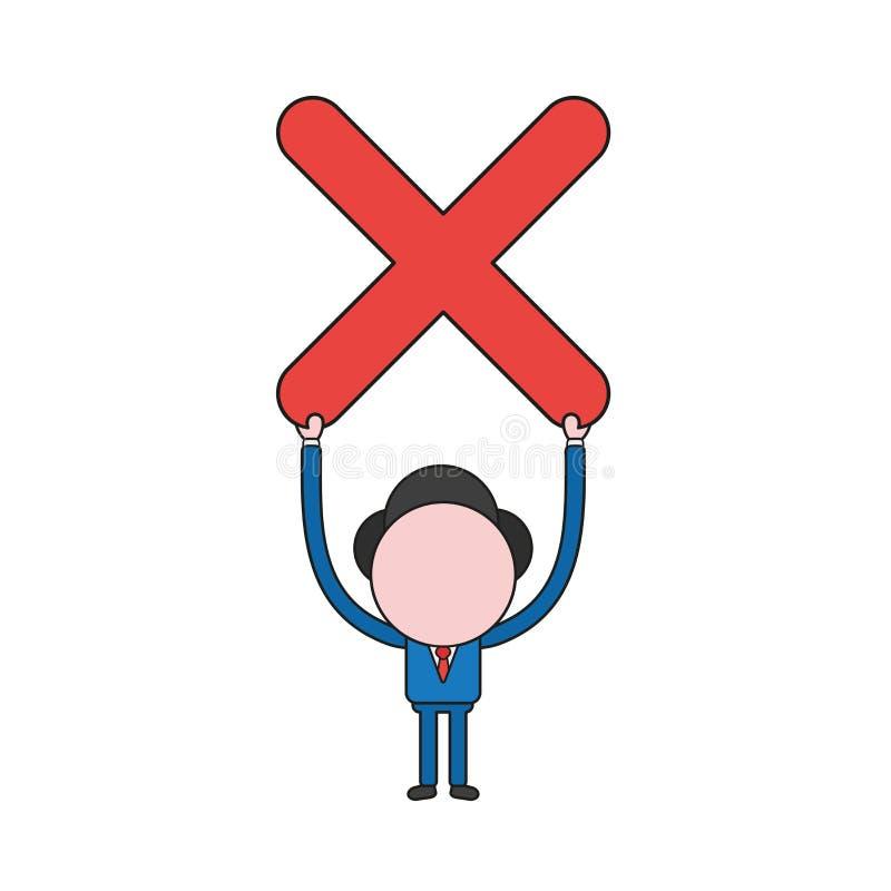 Illustration de vecteur de caractère d'homme d'affaires retardant la marque de x illustration libre de droits