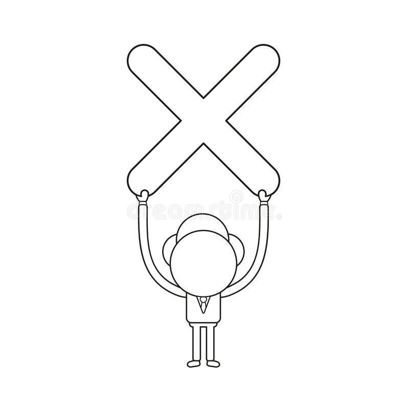 Illustration de vecteur de caractère d'homme d'affaires retardant la marque de x illustration de vecteur