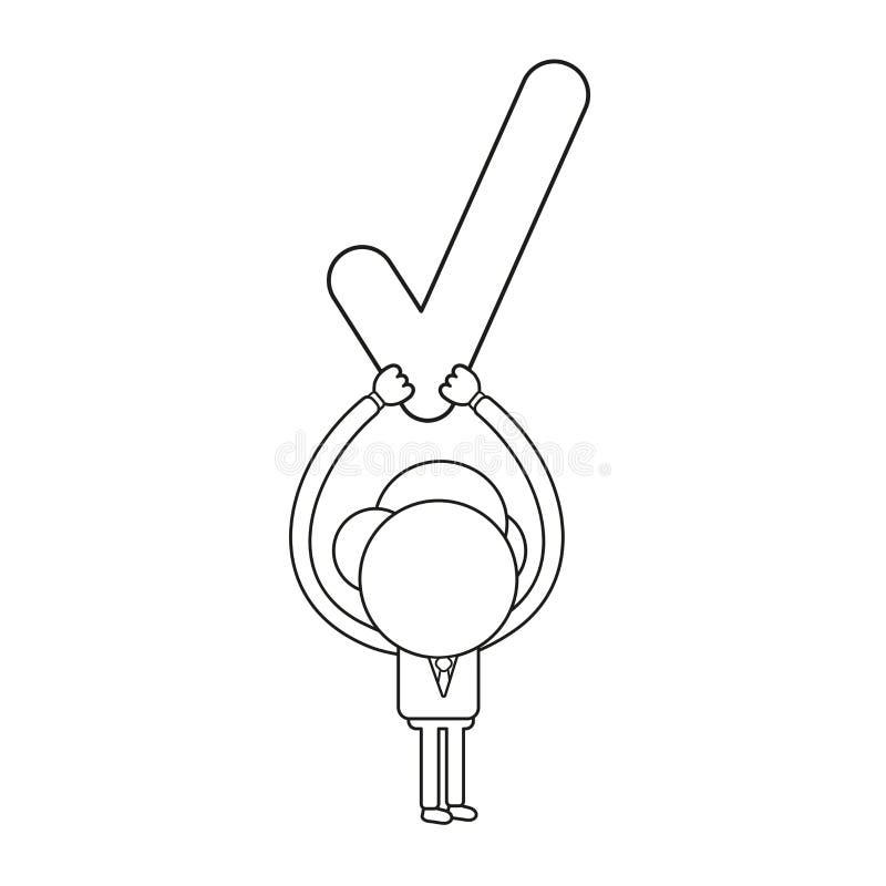 Illustration de vecteur de caractère d'homme d'affaires retardant le coche Contour noir illustration libre de droits