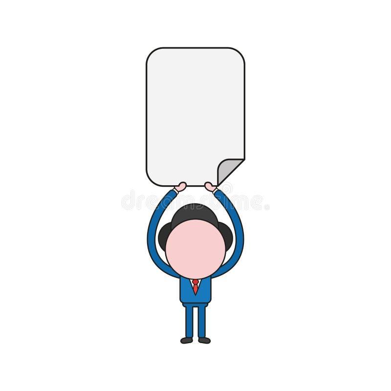 Illustration de vecteur de caractère d'homme d'affaires supportant le papier blanc Couleur et contours noirs illustration de vecteur