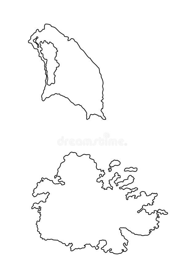 Illustration de vecteur de carte d'ensemble de l'Antigua et du Barbuda illustration libre de droits