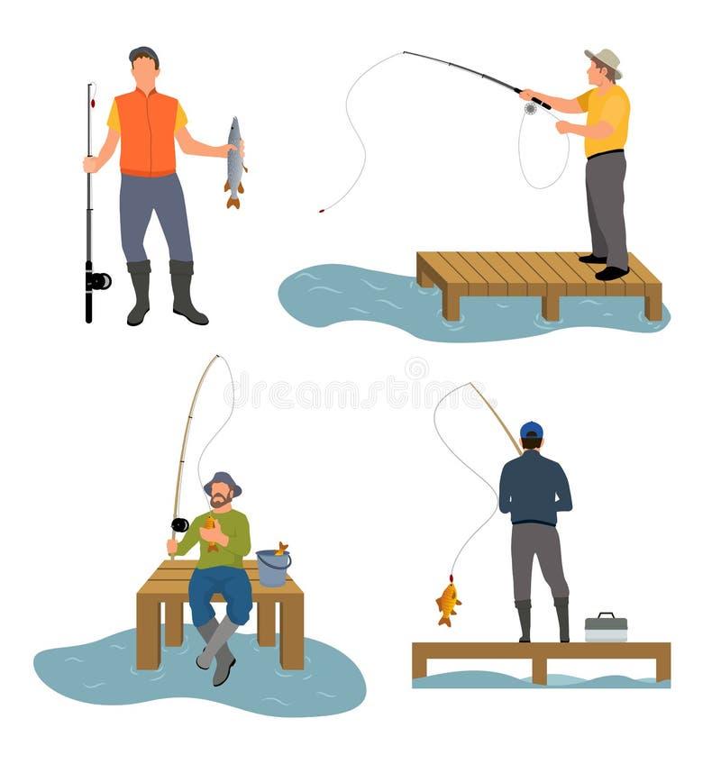 Illustration de vecteur de Catches Fish Set de pêcheur illustration stock