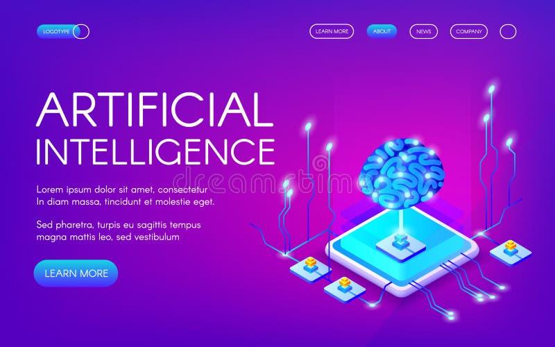 Illustration de vecteur de cerveau d'intelligence artificielle illustration libre de droits