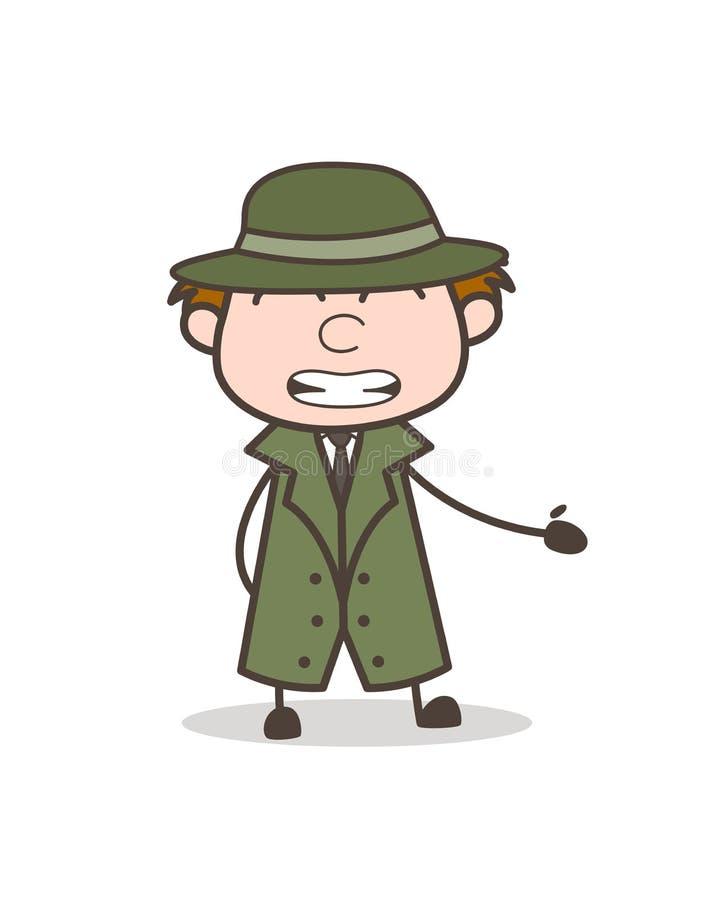 Illustration de vecteur de Cheap Smile Expression de détective de bande dessinée illustration de vecteur