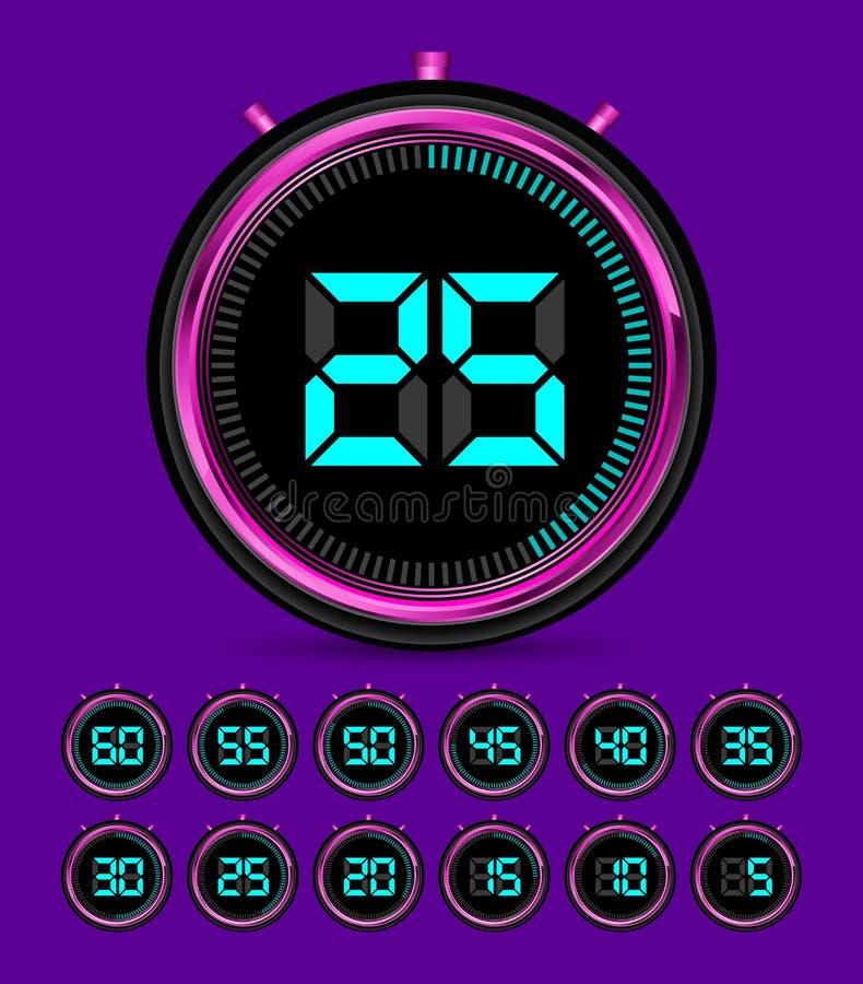 Illustration de vecteur de chronomètre de minuterie de Digital avec le calibre de nombre illustration de vecteur
