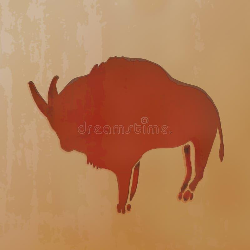 Illustration de vecteur - Clay Drawn Ox rouge Dessins antiques de caverne illustration de vecteur