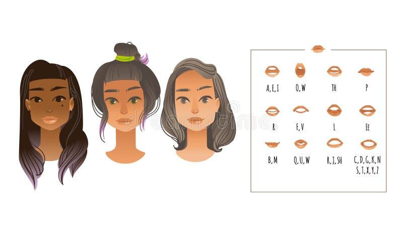 Illustration de vecteur de collection de synchronisation de lèvre pour l'animation de bouche illustration de vecteur