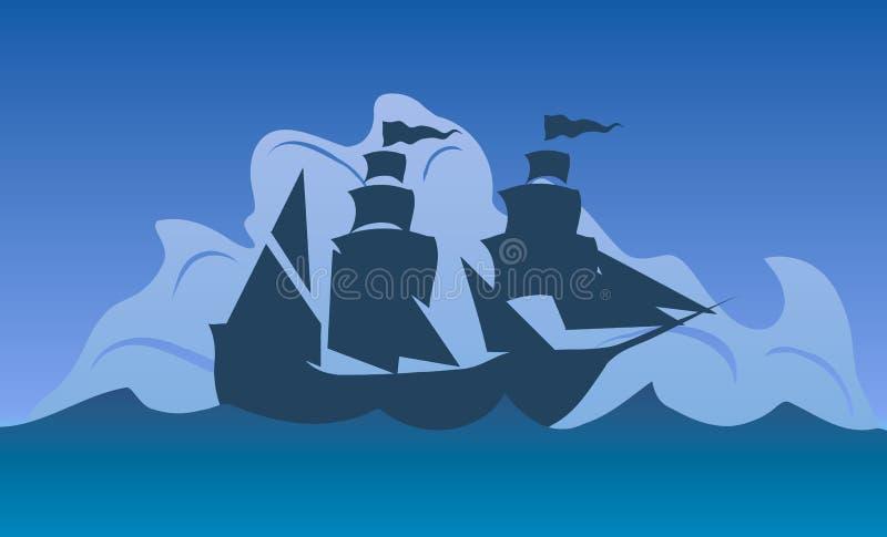 Illustration de vecteur Columbus Day Silhouette d'un bateau en mer illustration libre de droits