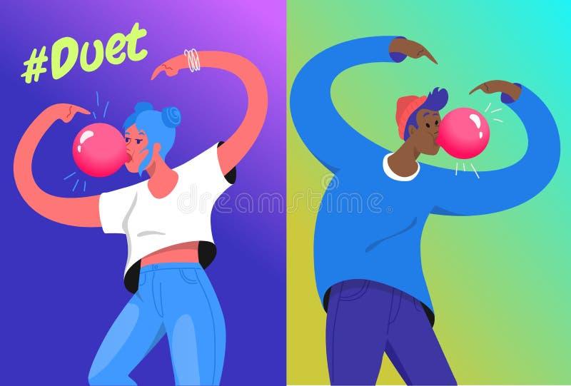 Illustration de vecteur de concept de défi de duo de Hashtag de deux jeunes adolescents soufflant un grand bubble-gum illustration stock