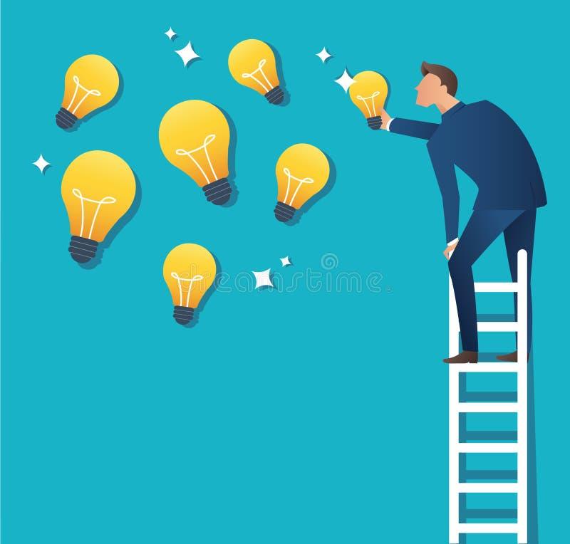 Illustration de vecteur de concept d'affaires d'un homme sur l'échelle se dirigeant à l'ampoule jaune illustration libre de droits