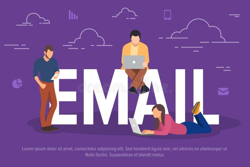 Illustration de vecteur de concept d'email Gens d'affaires à l'aide des dispositifs pour envoyer des emails Concept plat des jeun illustration libre de droits