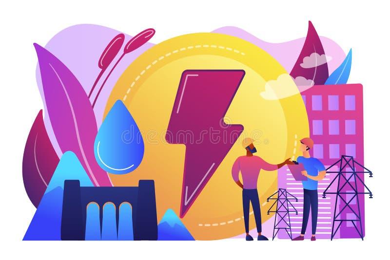Illustration de vecteur de concept d'hydroélectricité illustration stock