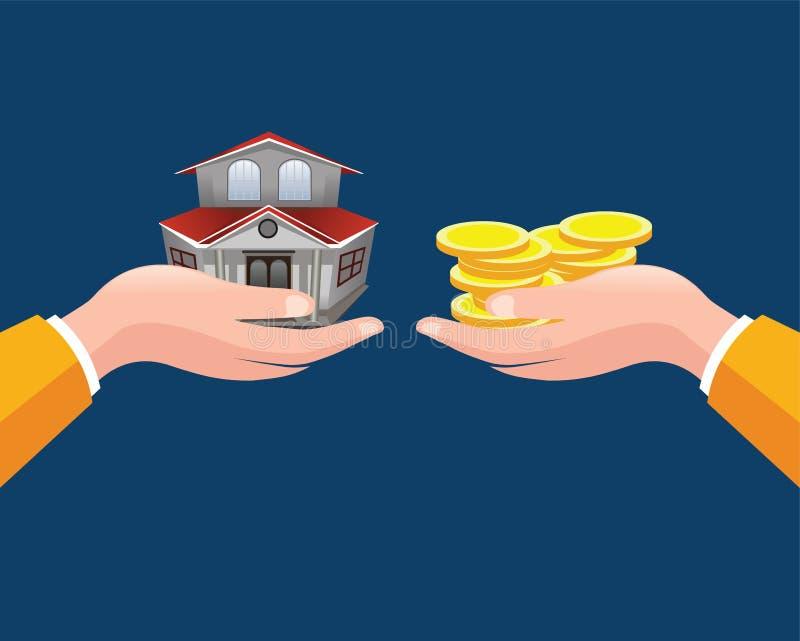 Illustration de vecteur de concept d'immobiliers Maison de offre de vrai agent immobilier illustration stock