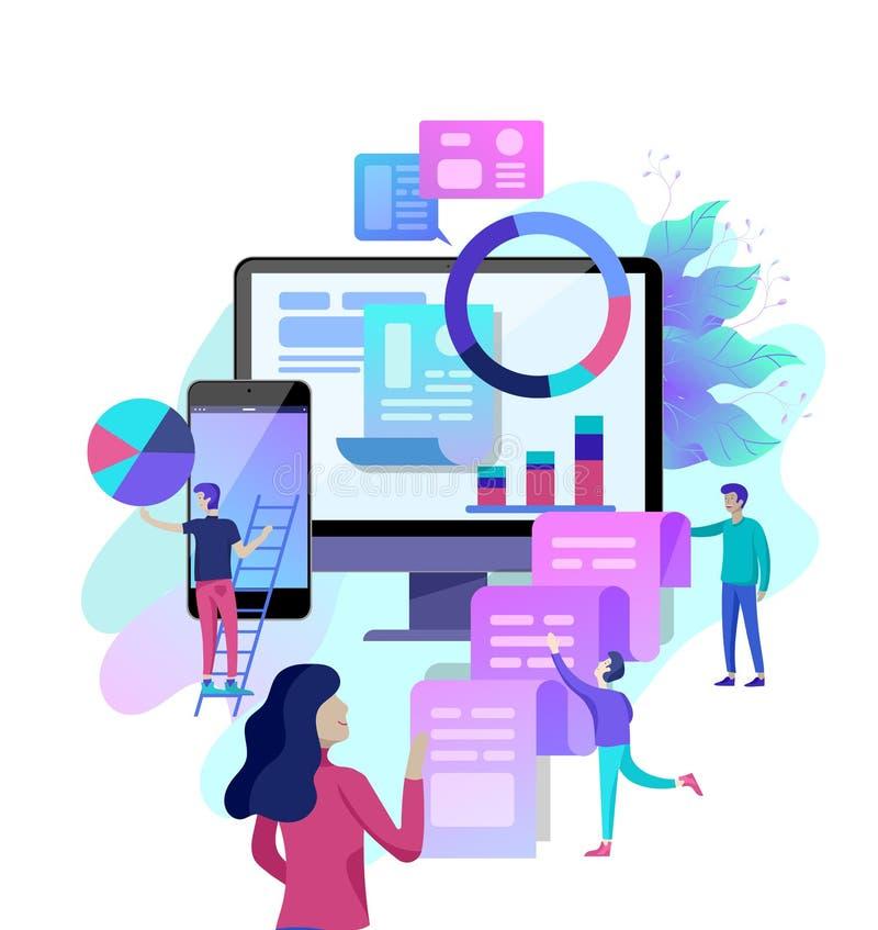 Illustration de vecteur de concept des affaires, analyse d'employés de bureau illustration de vecteur