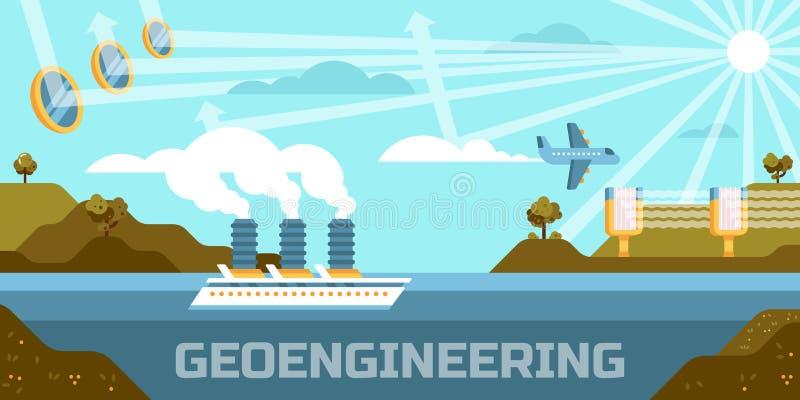 Illustration de vecteur de concept de Geoengineering, changeant, l'atmosphère, biosphère illustration de vecteur