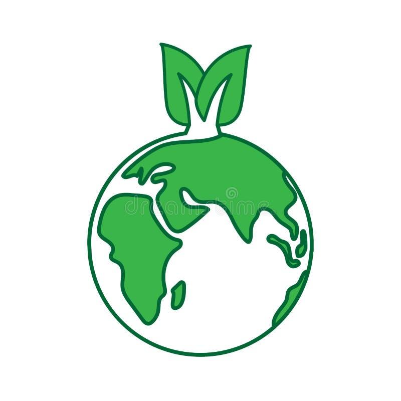 Illustration de vecteur de concept de jour de terre du monde Logo écologique avec l'eartn et les feuilles vertes illustration stock