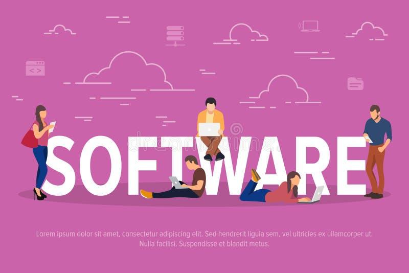 Illustration de vecteur de concept de logiciel Gens d'affaires à l'aide des dispositifs pour pour l'application ou le développeme illustration de vecteur