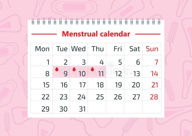 Illustration de vecteur de concept de santé de femmes, quelques aspects du bien-être des femmes dans la période de revues mensuel illustration stock