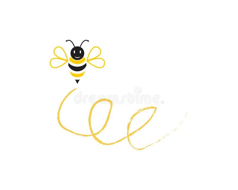 Illustration de vecteur de conception de logo d'icône d'abeille illustration libre de droits