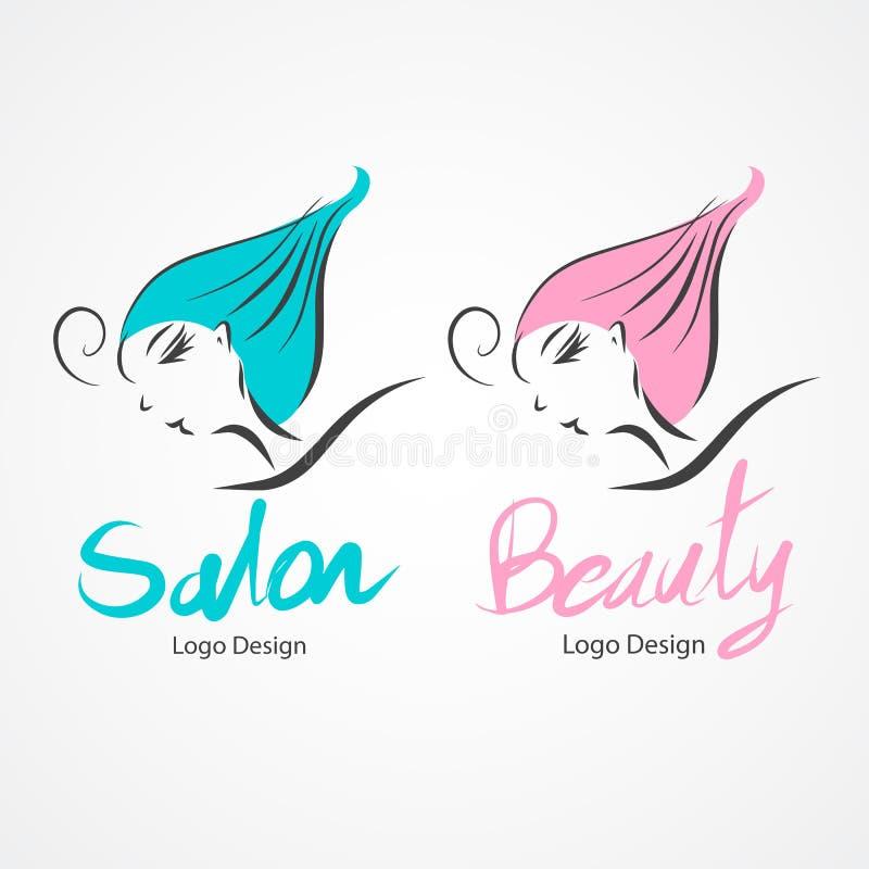 Illustration de vecteur de conception de logo de salon de beauté, icône, fille tirée par la main illustration de vecteur