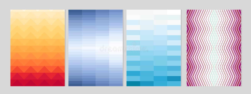 Illustration de vecteur de conception minimale de couvertures Formes géométriques colorées avec le gradient pour le fond d'affich illustration stock