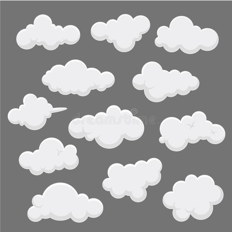 Illustration de vecteur de conception de nuage de collection, nuage de fond, calibre de vecteur de silhouette illustration libre de droits