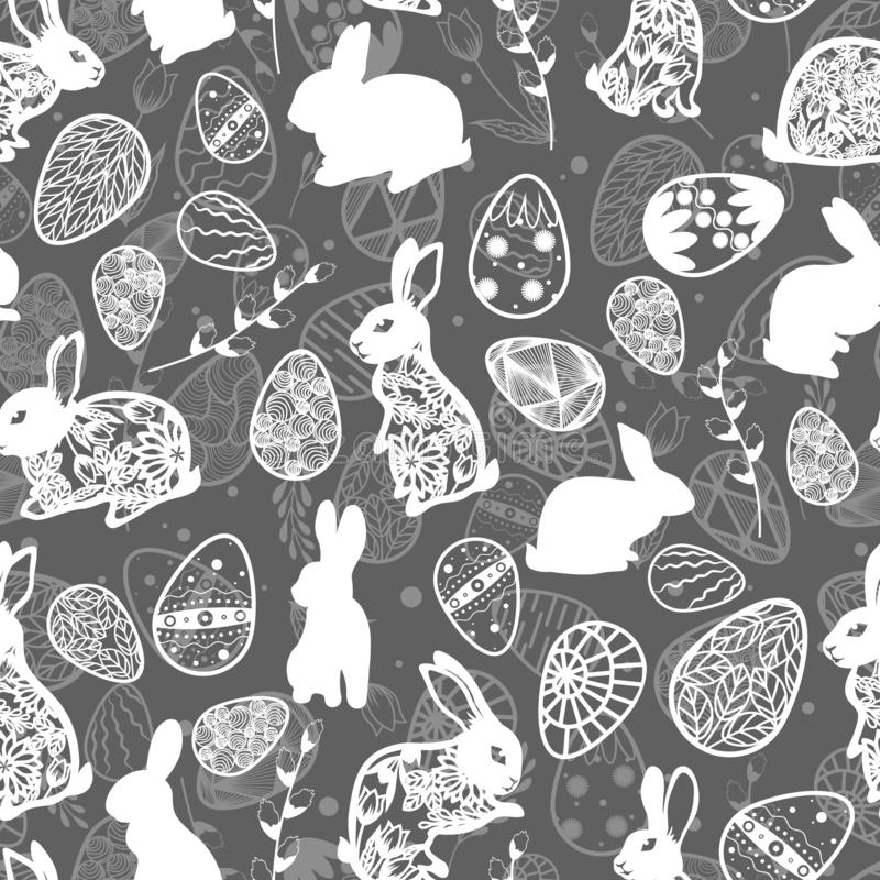 Illustration de vecteur Configuration sans joint Oeufs de p?ques Feuilles et branche de saule Lapin oriental Fond gris de carte illustration libre de droits