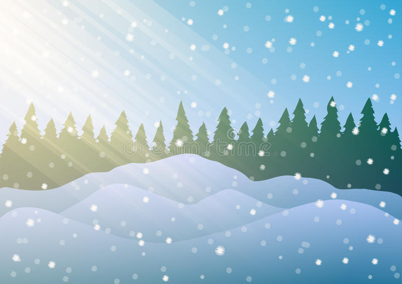 Illustration de vecteur Congères sur le fond des arbres et de la neige en baisse illustration stock