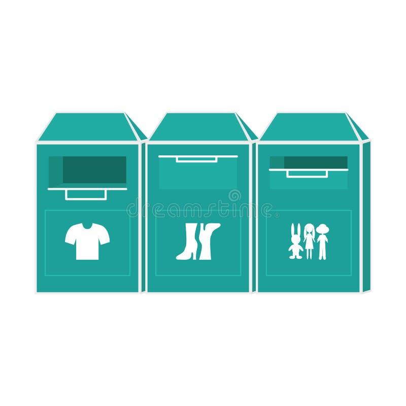 Illustration de vecteur de conteneur de donation de vêtements illustration stock