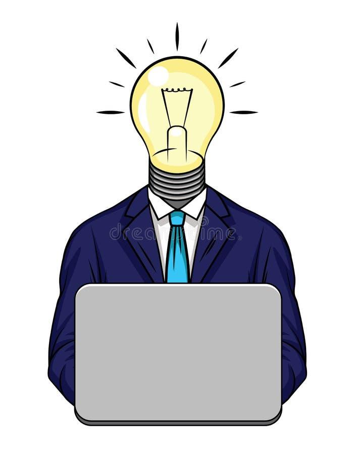 Illustration de vecteur de couleur d'idée d'affaires Plan d'étude d'un homme dans un costume avec une ampoule au lieu d'une tête  illustration libre de droits