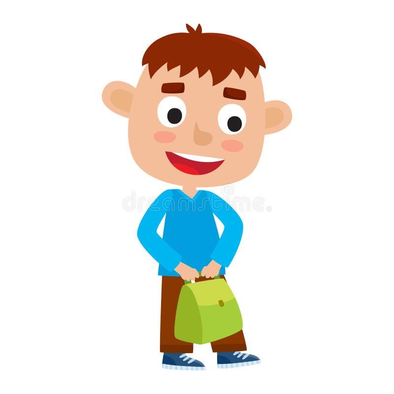 Illustration de vecteur de couleur de joli support de garçon avec le sac vert Ha illustration de vecteur