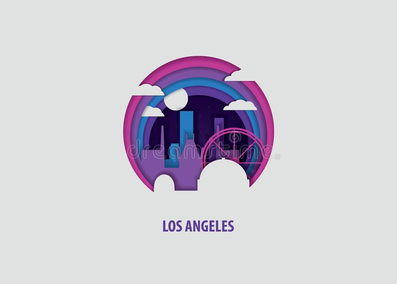 Illustration de vecteur de coupe de papier de Los Angeles illustration de vecteur