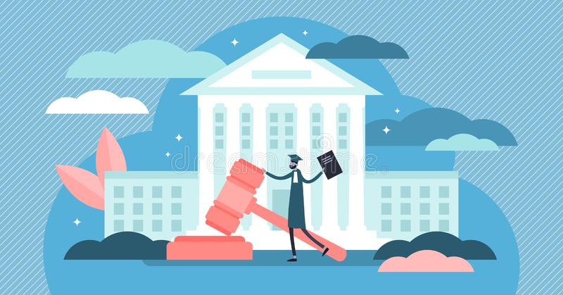 Illustration de vecteur de court suprême Concept minuscule plat de personnes de bâtiment de juge illustration de vecteur