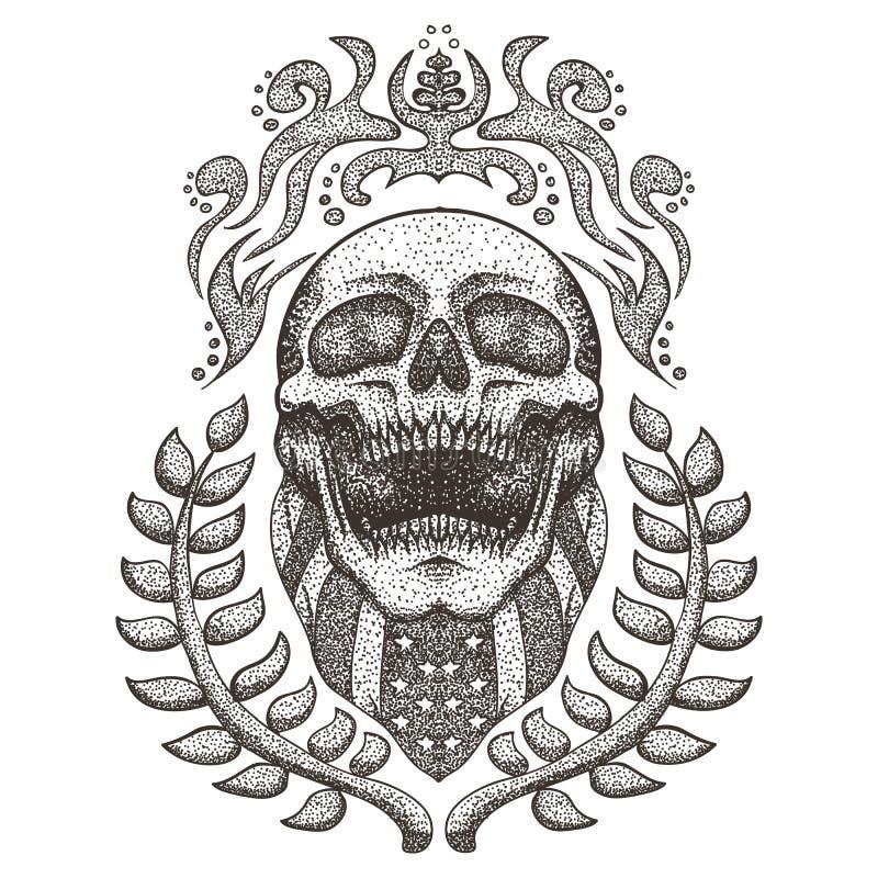 Illustration de vecteur de cru de drapeau des Etats-Unis de bandana de crâne illustration stock
