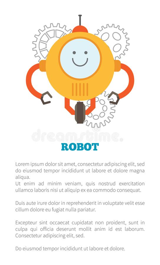 Illustration de vecteur d'échantillon d'affiche et de textes de robot illustration stock