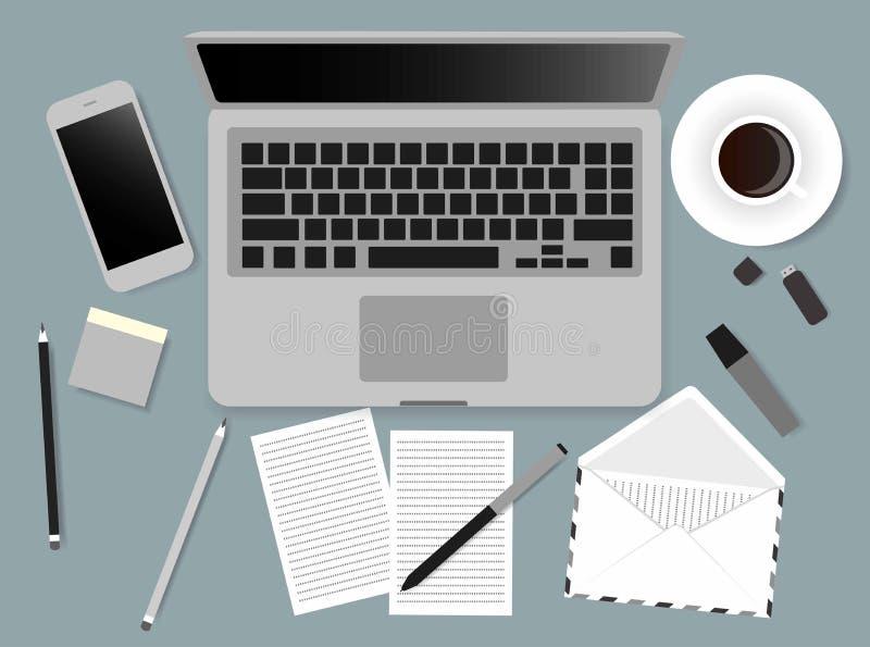 Illustration de vecteur d'écran d'ordinateur portable de bureaux des gens d'affaires d'angle de vue supérieure au-dessus du burea illustration stock