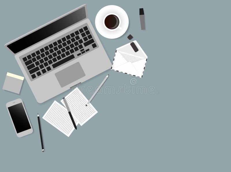 Illustration de vecteur d'écran d'ordinateur portable de bureaux des gens d'affaires d'angle de vue supérieure au-dessus du burea illustration libre de droits