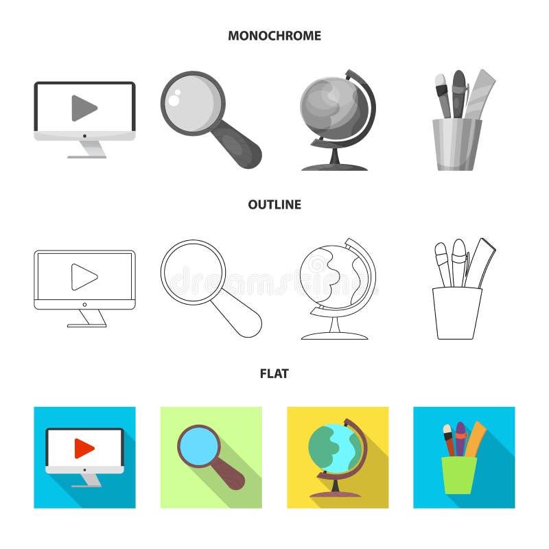 Illustration de vecteur d'éducation et de signe d'étude Ensemble d'illustration courante d'éducation et de vecteur d'école illustration stock