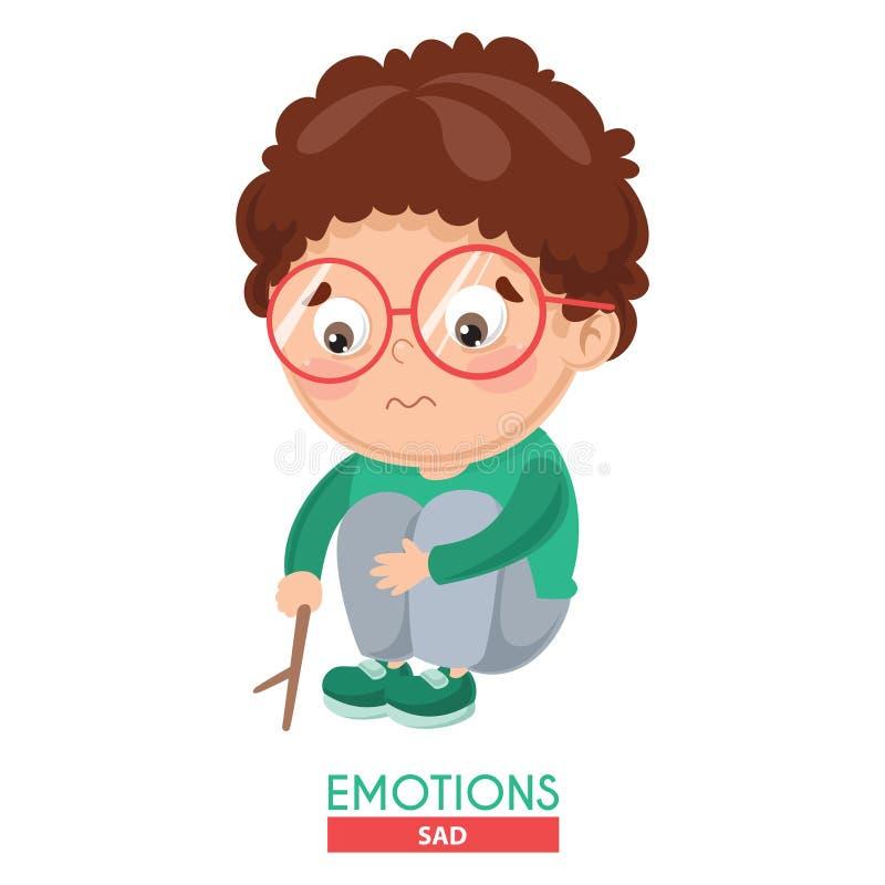 Illustration de vecteur d'émotion triste d'enfant illustration de vecteur