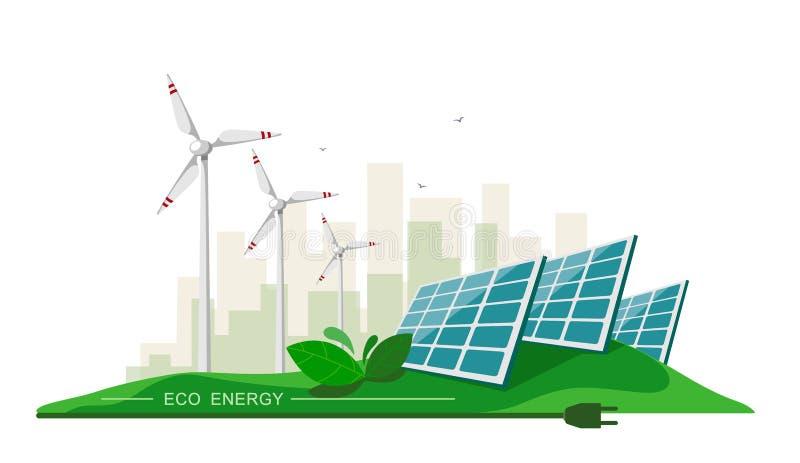Illustration de vecteur d'énergie électrique propre des sources renouvelables le soleil et vent sur le blanc Bâtiments de station illustration stock