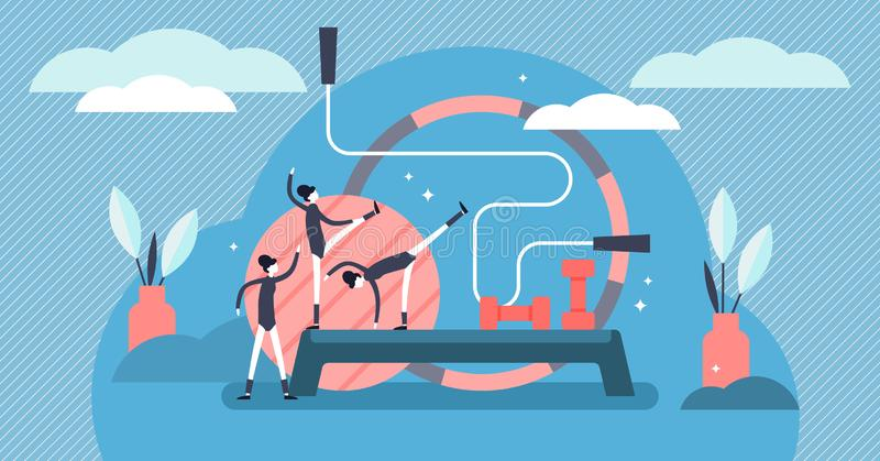 Illustration de vecteur d'aérobic Concept minuscule plat de personnes de sports de gymnastique illustration stock