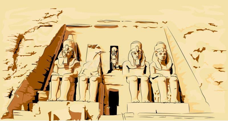 Illustration de vecteur d'Abu Simbel Egypt Temple dans la roche illustration stock