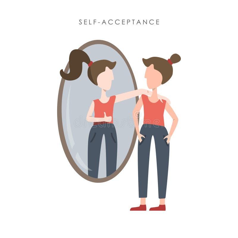 Illustration de vecteur d'acceptation d'individu Jeune femme observant à sa réflexion dans le miroir illustration libre de droits