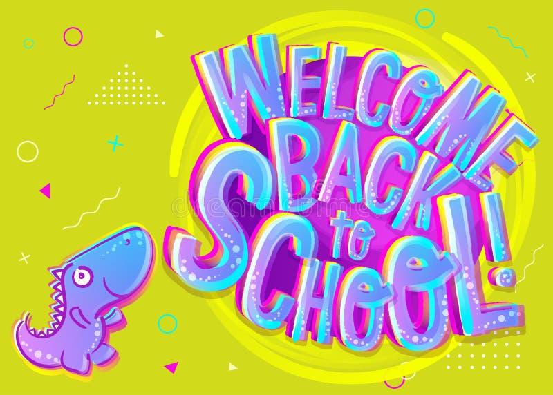 Illustration de vecteur d'accueil de nouveau à la bannière de bande dessinée d'école Co illustration de vecteur