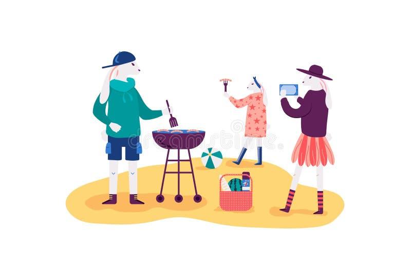 Illustration de vecteur d'activités en plein air de famille illustration libre de droits
