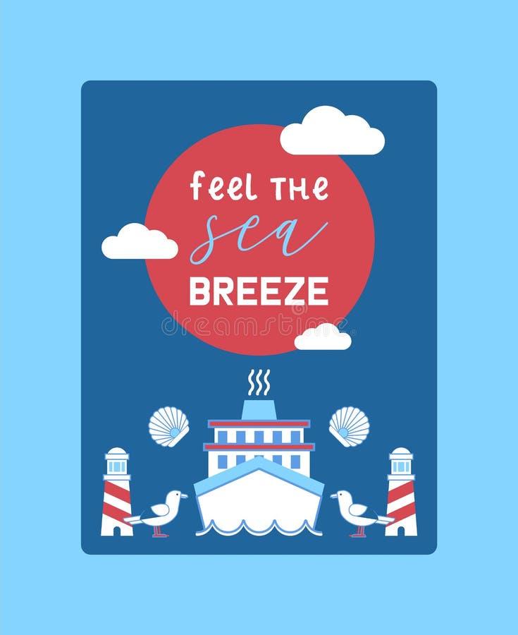Illustration de vecteur d'affiche d'aventure d'été de mer Collection nautique de choses telles que le phare, bateau, mouettes et illustration libre de droits